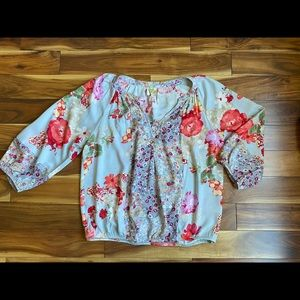 Anthropologie Fig and Flower Peasant Blouse Top M
